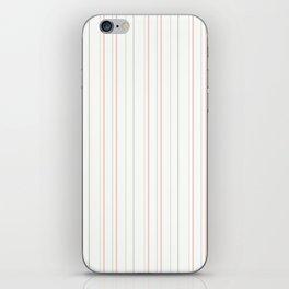 Modern geometrical pink coral green white stripes iPhone Skin