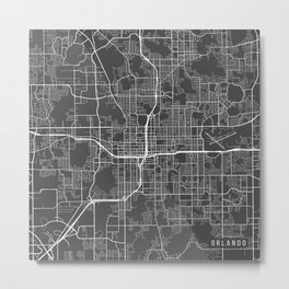 Orlando Map, USA - Gray Metal Print