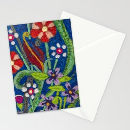 Cozy Felted Wool Flower Garden Stationery Cards