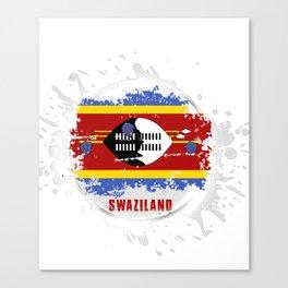 swaziland Flag with a Splash Canvas Print