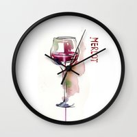 wine Wall Clocks featuring Wine by tatiana-teni