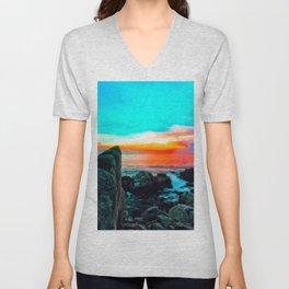 beach summer sunset with blue cloudy sky Unisex V-Neck