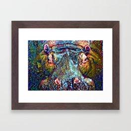 Whimsical Hippo Framed Art Print