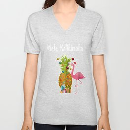 Mele Kalikimaka Flamingo Christmas Pineapple Hawai Unisex V-Neck