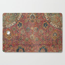Persian Medallion Rug IV // 16th Century Distressed Red Green Blue Flowery Colorful Ornate Pattern Cutting Board