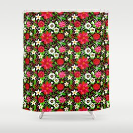 Christmas Flowers and Holly, Poinsettia, Roses and Lilies, holidays, girls floral gift, gift for mom Shower Curtain