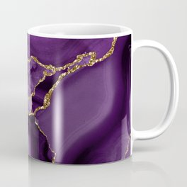 Glamour Purple Bohemian Watercolor Marble With Glitter Veins Coffee Mug