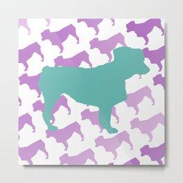 Australian Shepherd with Blue/Purple Silhouettes Metal Print