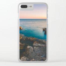 Rock beach paradise Clear iPhone Case