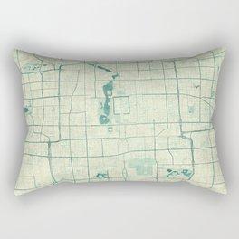 Beijing Map Blue Vintage Rectangular Pillow