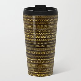 Golden Tribal Pattern on Dark wood Travel Mug