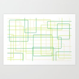 Green Line Pattern Art Print