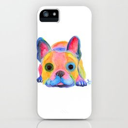 Nosey Dog French Bulldog ' AM I FRENCH ? ' by Shirley MacArthur iPhone Case