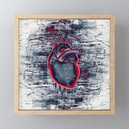 Gamer Heart BLUE CRIMSON / 3D render of mechanical heart Framed Mini Art Print
