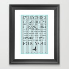 Labyrinth Jareth Movie Quote Framed Art Print