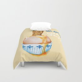 Un Oeuf With All The Food Puns Duvet Cover