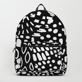 Modern Contemporary Black White Fantasy (Faux) Animal Print Backpack