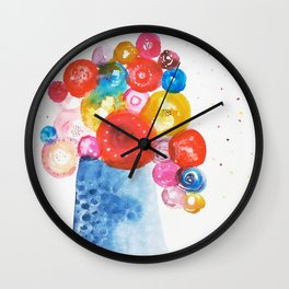 Abstract Flowers in Vase Wall Clock
