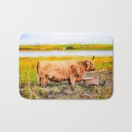 Highland cow watercolor painting #1 Bath Mat