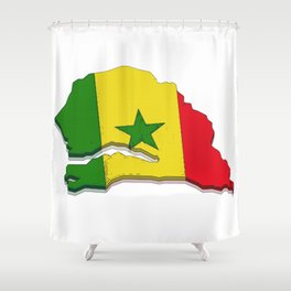 Senegal Map with Senegalese Flag Shower Curtain