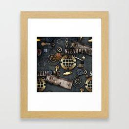 Mechanical steampunk grunge print. Framed Art Print