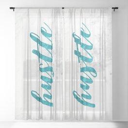 Blue Hustle Text Marble Sheer Curtain