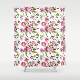 Pink lavender yellow watercolor elegant floral Shower Curtain