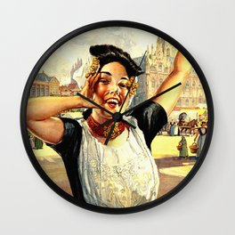 Vintage Holland Travel Poster Wall Clock