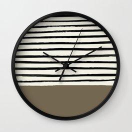Cappuccino x Stripes Wall Clock