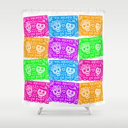 Day of the Dead Sugar Skull Papel Picado Flags Shower Curtain