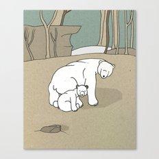Polar Bear Mother and Son Canvas Print