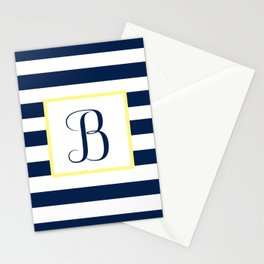 Monogram Letter B in Navy Blue it Yellow Outlined Box Stationery Cards