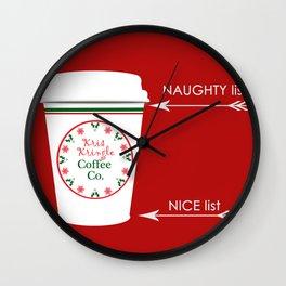 Christmas Naughty Nice Coffee Cup Wall Clock