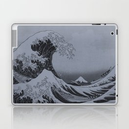 Silver Japanese Great Wave off Kanagawa by Hokusai Laptop & iPad Skin