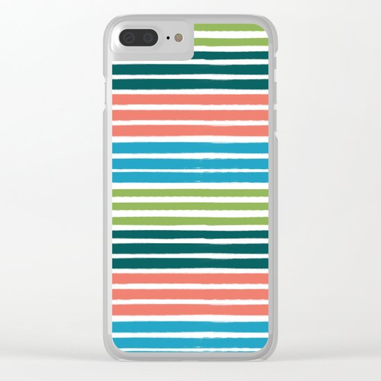 Minimal striped summer tropical pattern blue green happy pattern for beach Clear iPhone Case