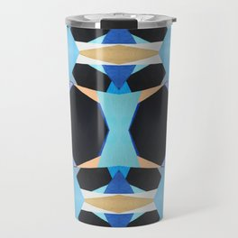 Blue Black Tan Diamond Geometric Pattern Travel Mug