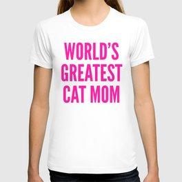 WORLD'S GREATEST CAT MOM (Pink) T-shirt