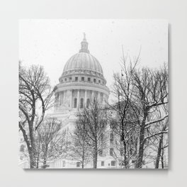 Snowy Capitol in Madison Metal Print