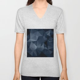 Black and blue polygonal pattern . Unisex V-Neck