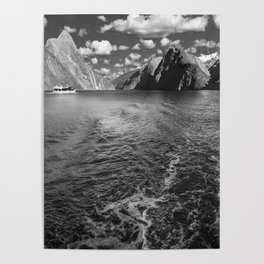 A boat ride in the morning at Milford Sound in black and white Poster