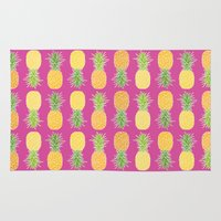 pineapples Area & Throw Rugs featuring Pineapples by Ornaart