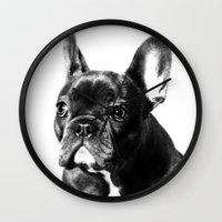 french bulldog Wall Clocks featuring French Bulldog by Falko Follert Art-FF77