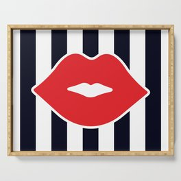 Red Lips with Stripes Serving Tray