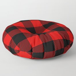 Red Lumberjack Pattern Floor Pillow