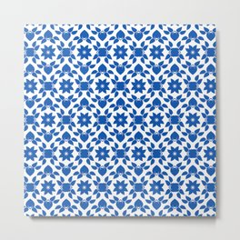 Blue & White Flower Pattern Metal Print