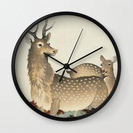 Deer couple in the field - Vintage Japanese woodblock print Wall Clock