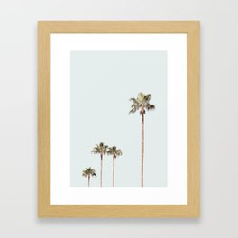 California Palms on pastel blue background Framed Art Print