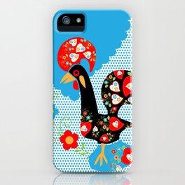 Portuguese Rooster of Luck with blue dots iPhone Case