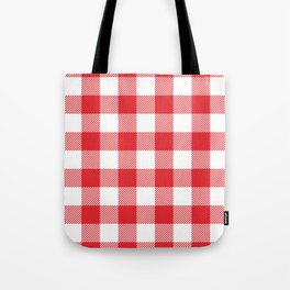 Large Red & White Vichy Tote Bag