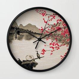 Japan Crane Fishing Wall Clock